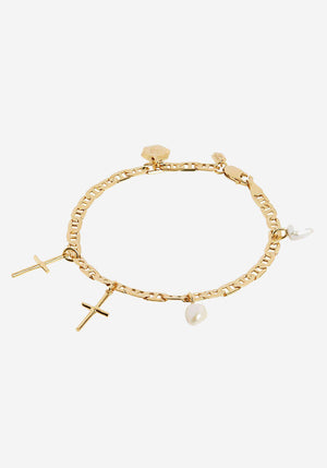 Cross Charm Bracelet Medium Gold