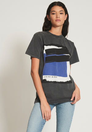 Georgie Blue Painting Tee Washed Black