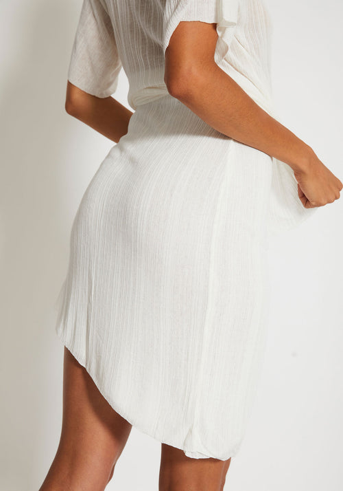 Adagio Draped Summer Knit Skirt Ivory