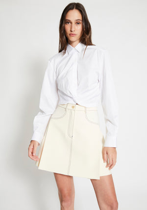 Twist Placket Shirt White