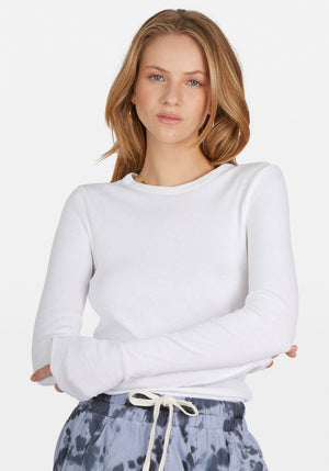 Superfine Rib Long Sleeve T-Shirt White