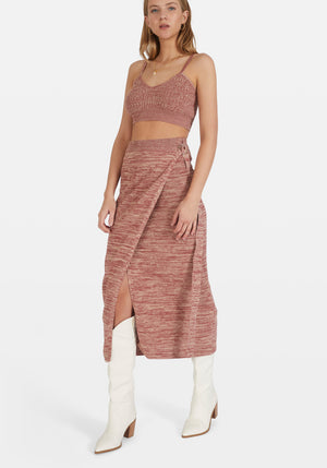 Sloane Knit Wrap Skirt Mottled Maroon