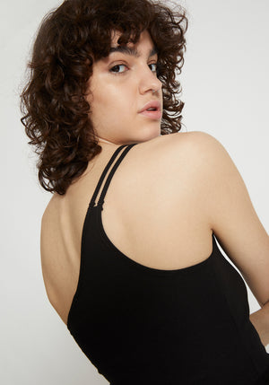 Iris One Shoulder Ribbed Singlet Black