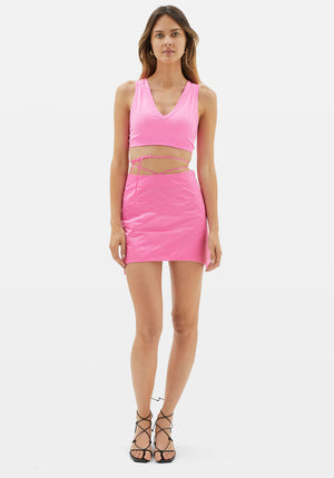 Satin Mini Skirt Disco Pink