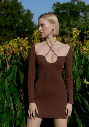 Rhodes Long Sleeve Dress Chocolate