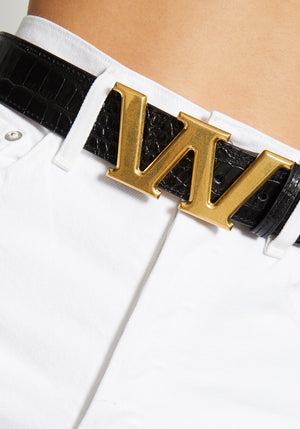 Metal W Letter Belt Black