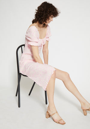 Evelyn Midi Dress Dusty Floral Print Pink