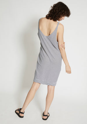 Fitted V Neck Tank Dress Stripe