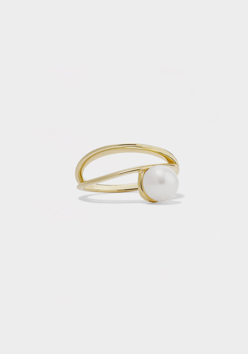 Double Band Ring With Pearl 9K Yellow Gold