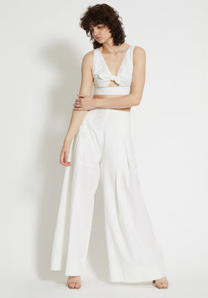 Bridled High Waist Linen Pant