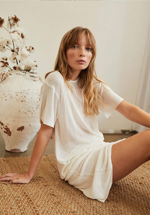 Antibes Irregular Rib Knit Loose Tee White