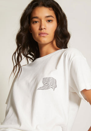 High Twist Jersey SS Tee Warped Logo Print White