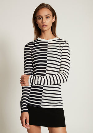 Rayon Stripe Slub Long Sleeve Tee W/Logo