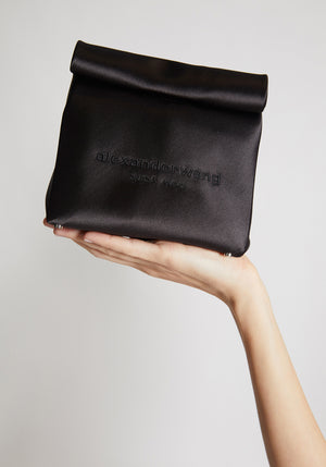 Satin Lunch Bag Clutch Black