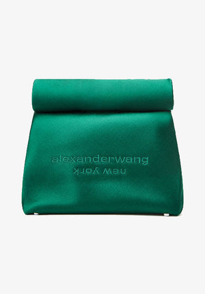Satin Lunch Bag Clutch Emerald