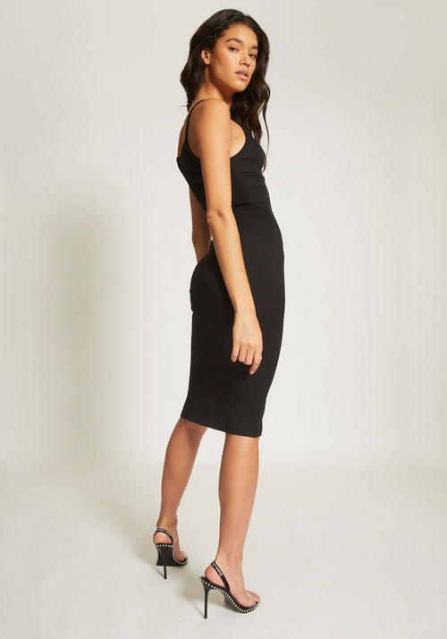 Tech Bodycon Mid Calf Dress Chain Detail