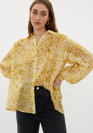 Caleb Silk Shirt Mixed Leopard