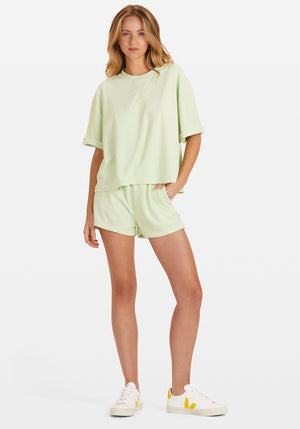 Pre-Order | Terry Boyfriend Tee Shorts Set Apple