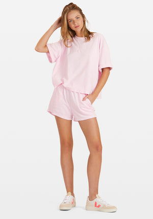 Terry Boyfriend Tee Shorts Set Fairy Floss