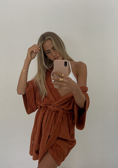Terry Beach Robe Rust
