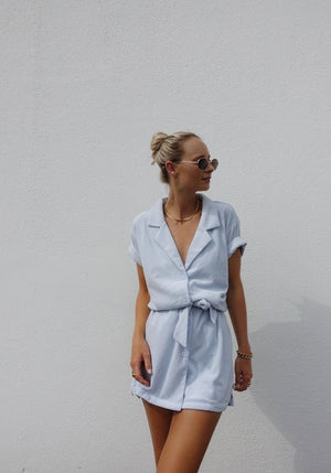 Exclusive | Terry Towelling Dress Powder Blue