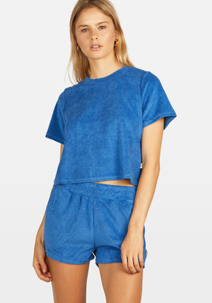 Terry Towelling Short Set French Blue
