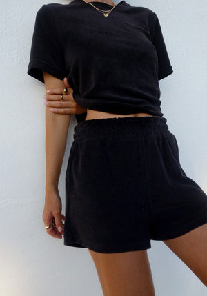 Pre-Order | Terry Towelling Short Set Black