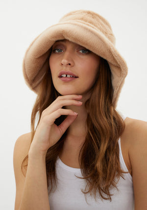 Camille Bucket Hat Caramel Faux Fur