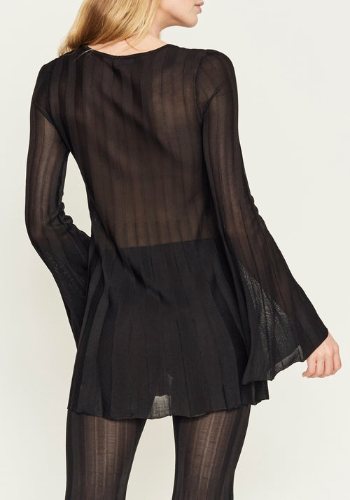 AYA PLEATED L/S TOP NOIR