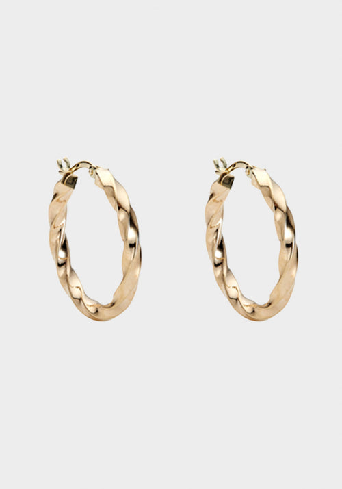 Soul Twist Hoop Earrings Yellow Gold