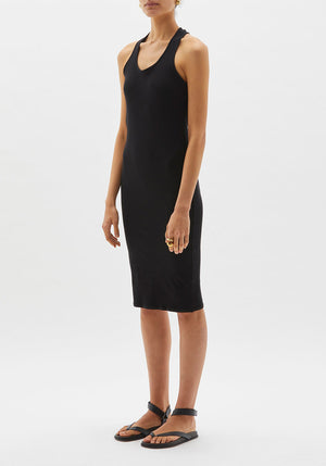 Cross Back Rib Dress Black