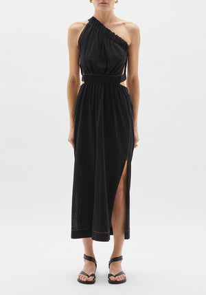 Gathered Cut Out Dress Black