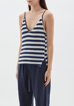 Stripe Mini Strap Tank Undyed/Navy