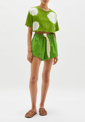 Twill Flared Mini Short Matcha