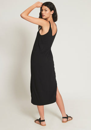 V NECK SLIP DRESS BLACK