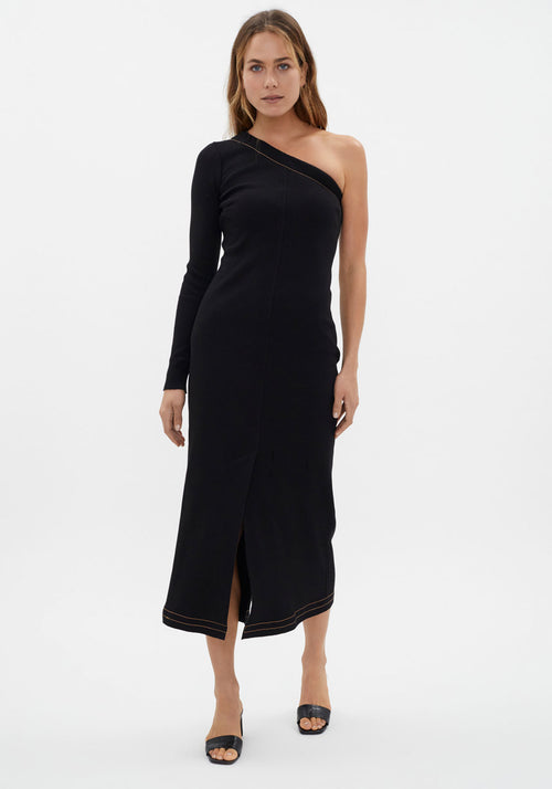 Asymmetric One Shoulder Dress Black