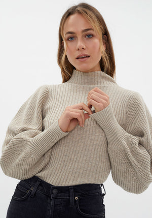 Balloon Sleeve Turtle Neck Knit Driftwood