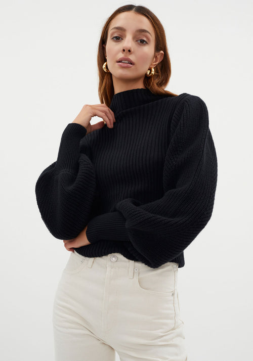 Balloon Sleeve Turtle Neck Knit Black