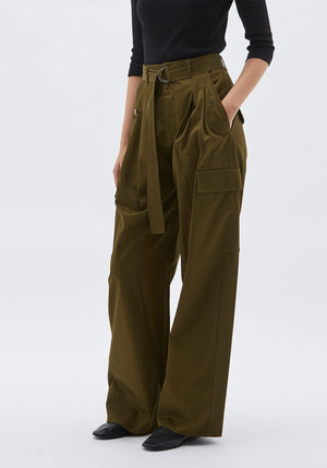 Belted Pleat Front Utility Pant Khaki