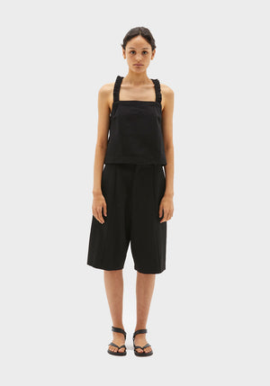 Boxy Cotton Apron Tank Black