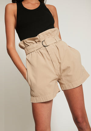 Canvas Belted Paper Bag Short Tan