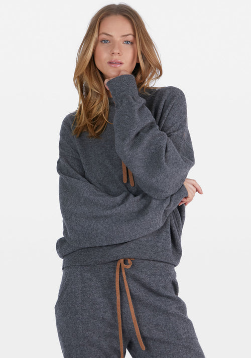 Cashmere Boxy Hoodie Light Charcoal