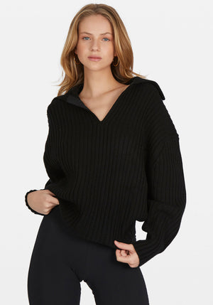 Chunky Ribbed Polo Knit Black