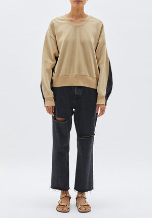Cotton Back Crew Sweat Sandstone