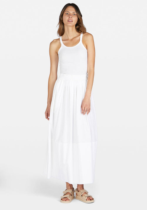 Cotton Gathered Longline Skirt White