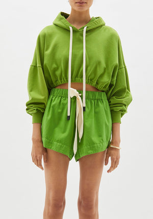 Cropped Gathered Hooded Sweat Matcha