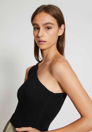 Cropped Rib One Shoulder Top Black