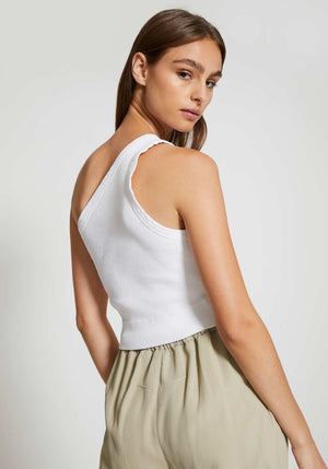 Cropped Rib One Shoulder Top White