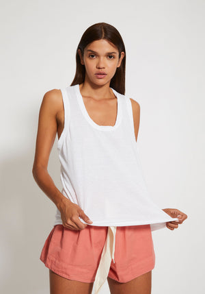Detailed T-Back Tank White - Bassike - Tuchuzy