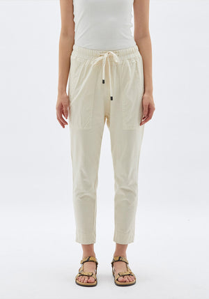 Double Jersey Contrast Tapered Pant Parchment